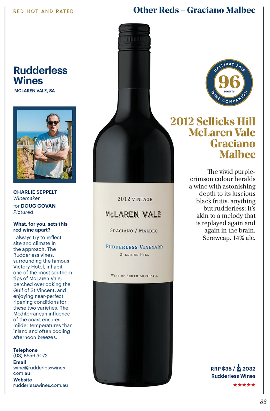 2012 Graciano Malbec – 96 points – Halliday 2016 Wine Companion