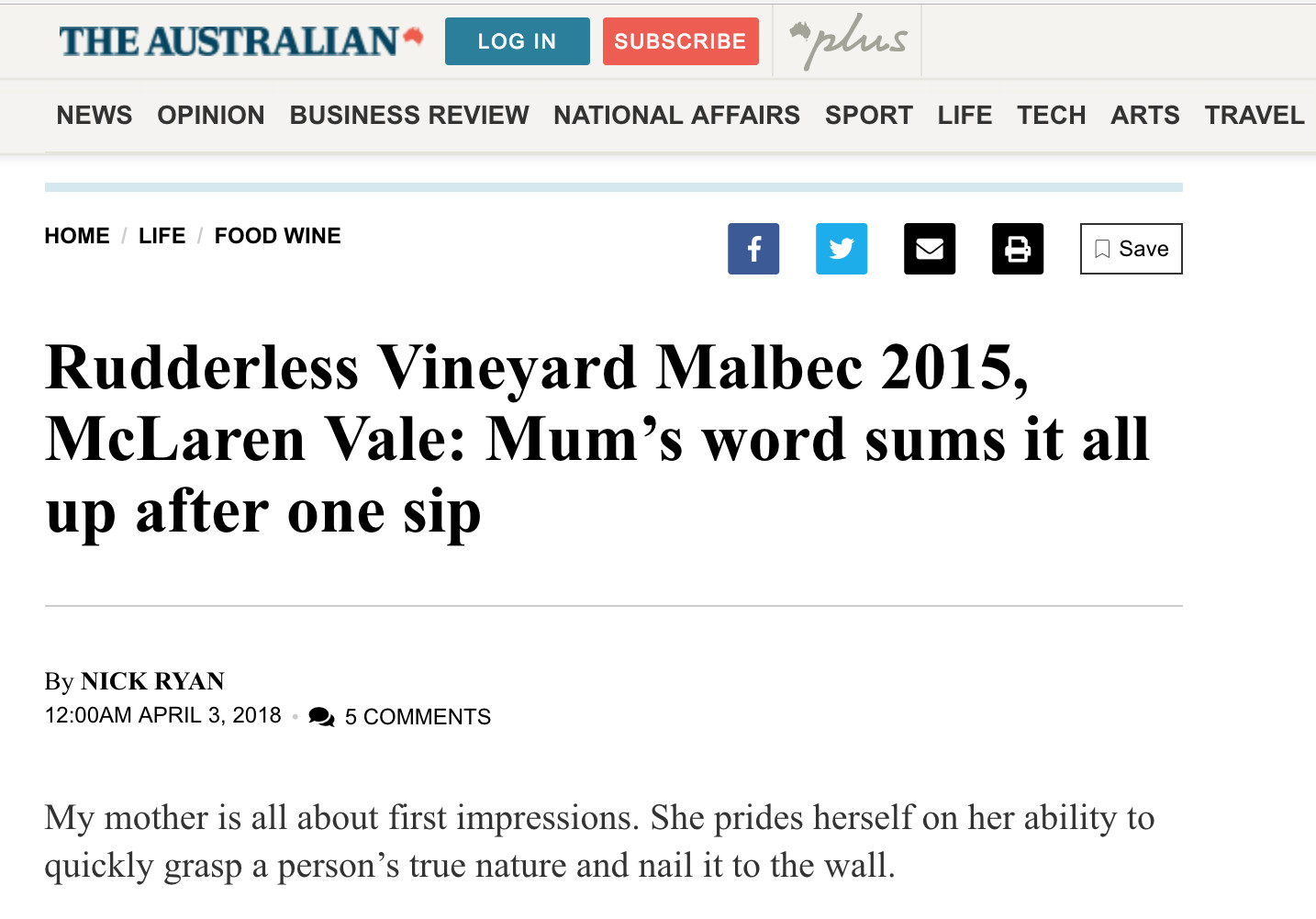 Rudderless Vineyard Malbec 2015, McLaren Vale: Mum's word sums it all up after one sip